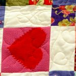 Close-up of quilt stitching