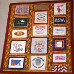 "A t-shirt quilt made for an ""A"" student"