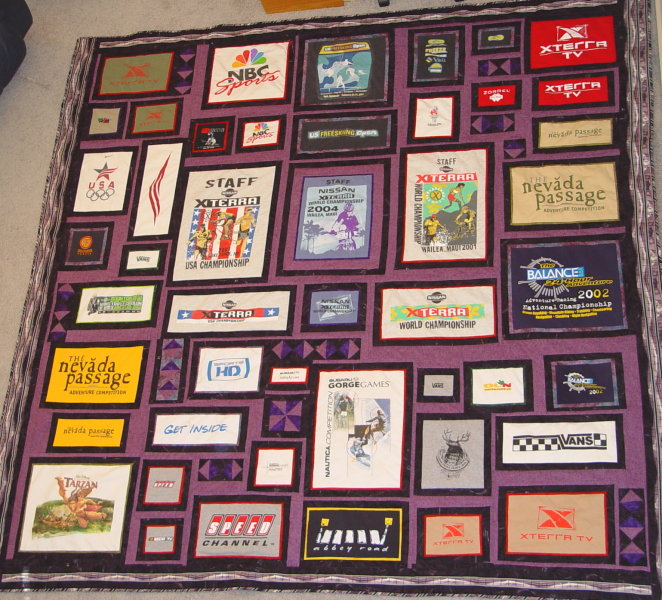 A quilt made from work t-shirts